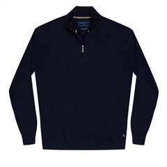 Marco Capelli Navy - Cotton Half Zip 12gg