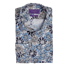 Marco Capelli Blue - Slim Fit Sunflower Shirt