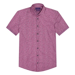 Dk Pink - Geo Print Short Sleeve Shirt by Marco Capelli
