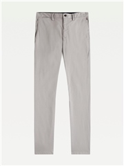 Silver - Denton Stretch Satin Chinos by Tommy Hilfiger