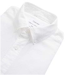 Calvin Klein White - Button Down Cotton Linen Shirt