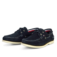 Navy - Classic Suede Boatshoe by Tommy Hilfiger
