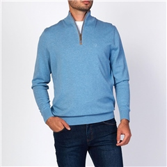 Bugatti Light Blue - Soft Cotton Half Zip Knit