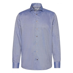 Bugatti Blue - Pin Dot Long Sleeve Solid Shirt