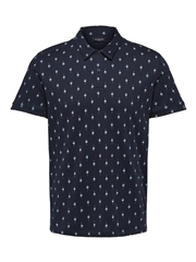 Selected Navy - Sade Print Polo