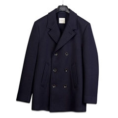 Bugatti Navy - Wool Double Breasted Peacoat Style Coat