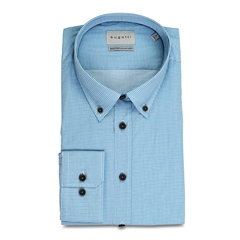 Light Blue - Mini Check Button Down Cotton Shirt by Bugatti