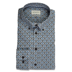 Bugatti Blue - Geo Print Button Down Cotton Shirt