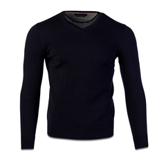 Mc Plh Navy - Pure Cotton V Neck Knit