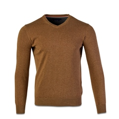Marco Capelli Dark Beige - Pure Cotton V Neck Knit