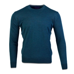 Teal - Merino Wool Crew Neck Knit by Marco Capelli