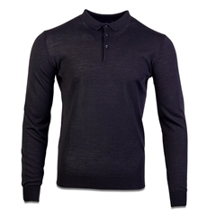 Marco Capelli Black - Merino Wool Polo Collar Knit
