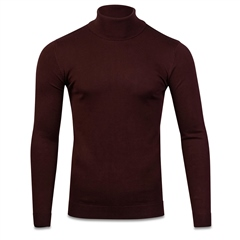 Burgundy - Lightweight Polo Neck by Marco Capelli