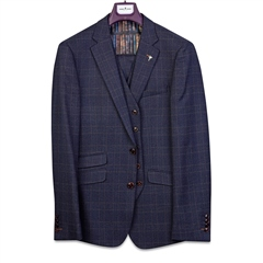 Herbie Frogg Dark Blue - Check 3-Piece Suit
