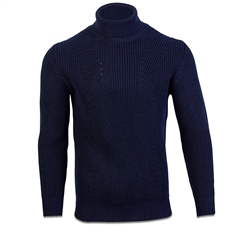 Navy - Polo Neck Knit by Marco Capelli