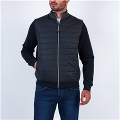 Bugatti Navy - Full Zip Quilt Front Panel Sweat Jacket