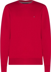 Red - Pima Cotton Cashmere Crew Neck Jumper by Tommy Hilfiger