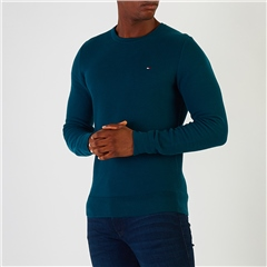 Tommy Hilfiger Teal - Honeycomb Knit Crew Neck Jumper