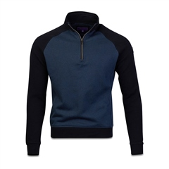 Marco Capelli Navy - Two Tone Structured Sweat Jumper