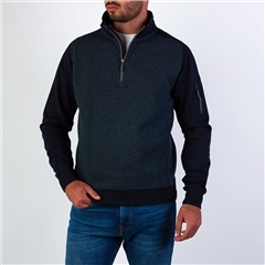 Marco Capelli Teal - Two Tone Sueded Jacquard Half Zip