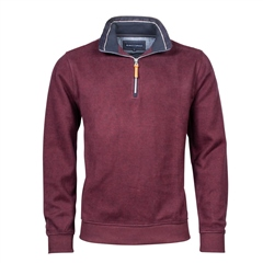 Marco Capelli Burgundy - Soft Suedine Half Zip Jumper