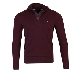 Tommy Hilfiger Burgundy - Organic Cotton Zipped Neck Jumper