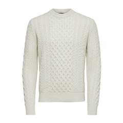 Selected Off White - Benno Cable Crew Knit