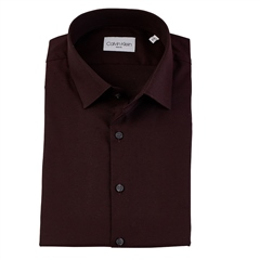 Calvin Klein Wine - Dobby Easy Care Slim Shirt Ls