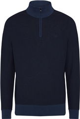 Calvin Klein Dark Denim - Two Tone Micro Stitch Half Zip Knit