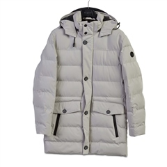 Bugatti Winter White - Quilted Rainseries Parka Coat