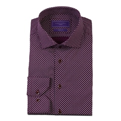 Marco Capelli Burgundy - Geo Diamond Print Slim Fit Shirt