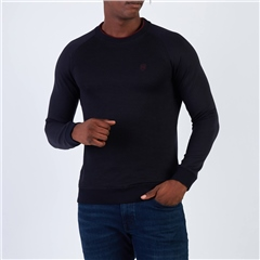 Navy - Hybrid Knit & Jersey Crew Neck Sweatshirt by Xv Kings By Tommy Bowe