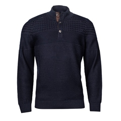 Marco Capelli Navy - Structured Button Neck Knit