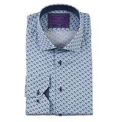 Marco Capelli Blue - Luxury Satin Owl Print Shirt