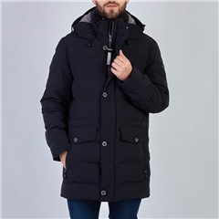 Bugatti Navy - Long Quilted Jacket Wl