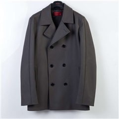 Hugo Grey - Wool Blend Double Breasted Peacoat