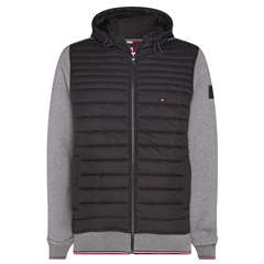 Dark Grey - Mixed Media Hooded Zipthrough Jacket by Tommy Hilfiger