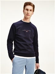 Navy - Essential Tommy Crew Neck Sweatshirt by Tommy Hilfiger