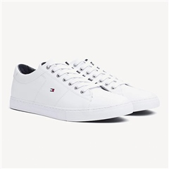 White - Essential White Leather Sneaker by Tommy Hilfiger