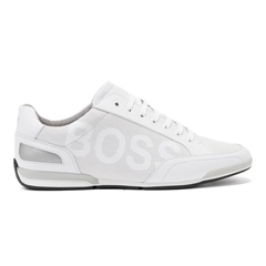 White - Saturn Low Profile Boss Leather Sneaker by Hugo Boss