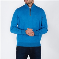 Blue - Soft Cotton Half Zip Knit by Bugatti