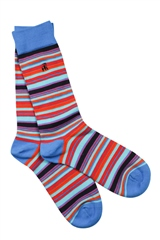 Swole Panda Blue - Narrow Striped Socks
