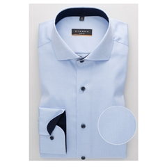 Blue - Plain Opaque Cover Shirt by Eterna
