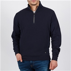 Navy - Structured Jaquard Interlock Half Zip by Marco Capelli