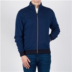 Marco Capelli Navy - Two Tone Oxfor Jacquard Full Zip