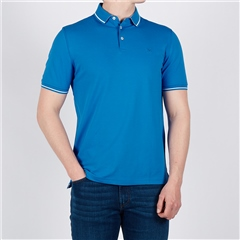 Blue - Soft Cotton Polo With Contrast Tipping by Marco Capelli