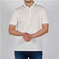 White - Soft Cotton Polo With Contrast Tipping by Marco Capelli