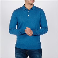 Blue - Cotton Knitted Long Sleve Polo by Marco Capelli