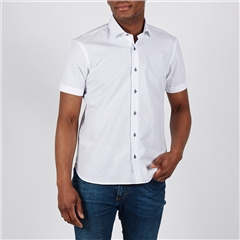 White - Geo Dot Short Sleeve Shirt by Marco Capelli