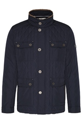 Bugatti Navy - Quilted Hybrid Jacket With Front Chest Pocket